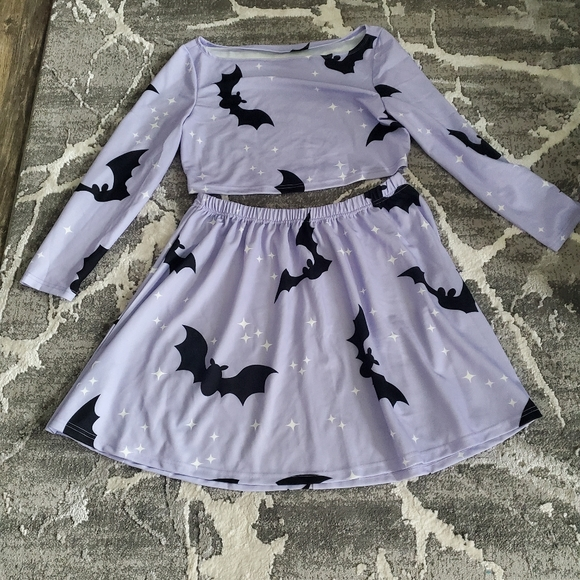 Lavender Bat shirt and skirt set